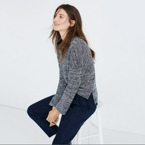 Madewell Marled Mockneck Blue Sweater, Size Small